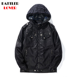 Mens Parka Leather Australia - 2018 Mens Winter Leather Coat Faux Leather Warm Outwear Coats Men Punk Hoody Parka Jackets Hombre Thick Overcoat Brand Clothing