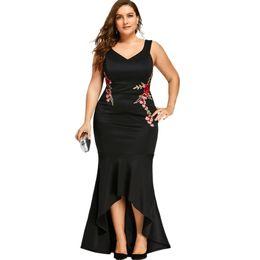 1074c89bfdf9 Wipalo Embroidery Roses Mermaid Plus Size 5xl Dress Maxi Sexy Black Tank V  Neck Long Elegant Party Female Dress Evening Wear J190529