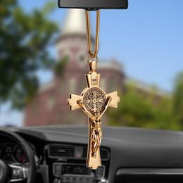 $enCountryForm.capitalKeyWord Australia - Car Pendant Zinc Alloy Jesus Cross Christian Religion Jesus Crucifix Figurine Hanging Ornament For Auto Interior Rearview Mirror
