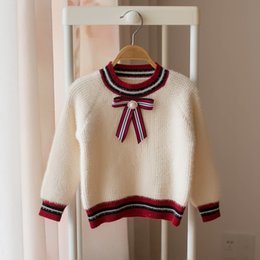 $enCountryForm.capitalKeyWord NZ - 2019 new Autumn Winter bows girls sweater pearl baby sweater toddler girl clothes kids designer clothes girls Pullover Sweaters A7180