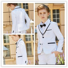 Clothes Wear For Kids Australia - New Fashion White Boy Formal Wear Notch Lapel Boy Kid Attire Clothes For Wedding Birthday Party (Jacket+Pants+Bow+Vest)
