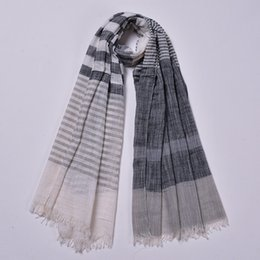 Scarfs Cotton Australia - Scarf For Women Lightweight Contrast Color Striped Fashion Spring Shawl Wraps Cotton Designer Long Scarves Tassel Neck Scarf 90*180cm