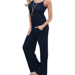 $enCountryForm.capitalKeyWord UK - Summer Spaghetti Strap Jumpsuits New Women Rompers Red Casual Jumpsuit Female Overalls Loose Wide Leg Long Pants 2xl Plus Size Y19060501