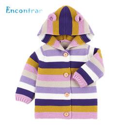 Baby Girl Jacket Ears Australia - Encontrar Girls Boys Color Patchwork Hooded Sweater Coat Newborn Warm Winter Clothes Baby Ear Decoration Jacket 6M-24M,DC507