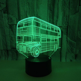 Double Touch Light Switches Australia - Double-deck Transit Bus 3d Second Acrylic Night Light Touch Switch Colorful Vision Three-dimensional Lamp 3d Vision Lampstand Lamp