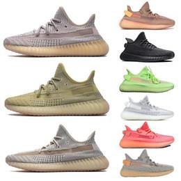 Venta al por mayor de 2019 Gid Glow 3M Negro Hiperespacio Estático Reflectante True Form Clay Hombre Mujer Kanye West Zapatillas de running Lundmark Antlia Synth Sneakers 36-46