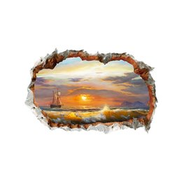 Landscapes For Wall Stickers Australia - 3D Living Room Beach Wall Sticker Vinyl Self-adhesive Wall Broken Sea Landscape Wall Art Decal for Home Decoration