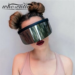 green plastic visors UK - WHO CUTIE 2020 Oversize Shield Visor Mask Sunglasses Men Women One Peice Windproof Glasses Flat Top Hood Nicki Minaj Goggles 628