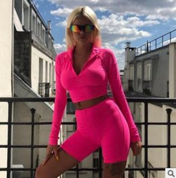 $enCountryForm.capitalKeyWord NZ - 2019 Autumn Full Sleeve Zipper Turtleneck Tops And High Waist Shorts Suits Female Fluorescence Fitness Two Pieces Sets Women's Tracksuits