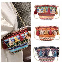 Cross bags for girls online shopping - 3styles Ethnic style Weaving Tassel Shoulder Bag Handbag Vintage Messenger Bag Crossbody Bags for Women Beach party Bag FFA1905
