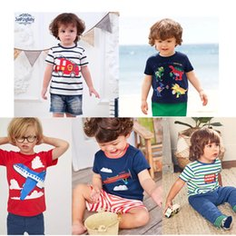 Design Children Shirt Australia - Free DHL Designing Baby Embroidery Summer Infant Cotton Children Boys Girls Tee Cartton Tortoise Fox Shark Girls Short Sleeve T-shirts