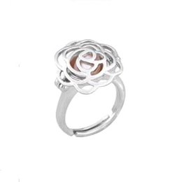 $enCountryForm.capitalKeyWord Australia - {Cage Ring} Can Open And Hold Pearl Gem Beads Cage Ring Fitting, 18kgp Camellia Flower Ring Adjustable Size