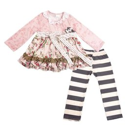 kids girls dresses leggings NZ - Baby girls suits kids designer clothes girls fall boutique clothing girls designer floral outfits shirt dresses+leggings kids sets