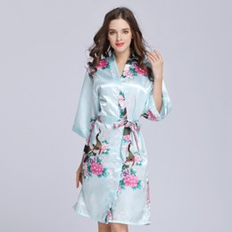 6e3fc3ef820 Ladies satin cLothes online shopping - Women s Faux Silk Satin Nightgown  Lady Printed Sleepwear Mother