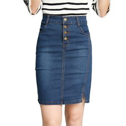 ea103ca88 2019 Fashion Sexy Office Lady Elegant Denim Skirts summer Slim Denim Women Pencil  Skirt New High Waist Buttons Slim Plus Size