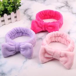 $enCountryForm.capitalKeyWord Australia - Women Coral Fleece Bow Hair Band Solid Color Wash Face Makeup Soft Headbands Fashion Girls Turban Head Wraps Hair Accessories