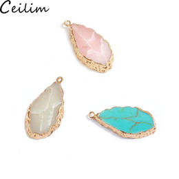 white stone earrings gold 2019 - Trendy Geometric Druzy Resin Pendant Charm Pink White Blue Acrylic Stone For Earring Necklace DIY Gold Plated Best Weddi