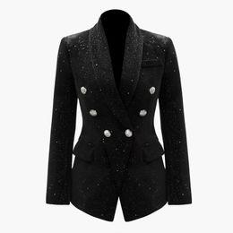 $enCountryForm.capitalKeyWord UK - 2019 Summer Fall Long Sleeve Shawl Notched-Lapel Black Glitter Double Breasted Blazers Coat Luxury Runway Coats MAY2214OLD Size S-XXL