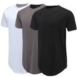 $enCountryForm.capitalKeyWord Australia - Men Casual T-Shirt Curve Hem Side Zipper Short Sleeve Streetwear Men Long line Hip Pop Style Tops Fashion Men Extend Swag