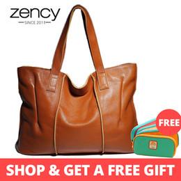 $enCountryForm.capitalKeyWord Australia - Zency 100% Genuine Leather Handbag Large Capacity Women Shoulder Bag Retro Tote Purse High Quality Hobos Brown Shopping Bags Y19062003
