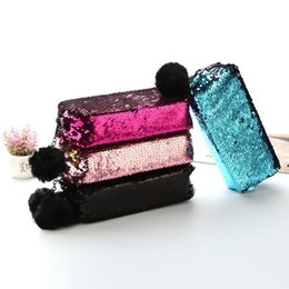 $enCountryForm.capitalKeyWord UK - 12 Colors Sequin Pencil Bags Pen Case with Fuzzy Ball Glitter Mermaid Stationery Storage Bags Holder Wholesale Cosmetic Makeup Pouch