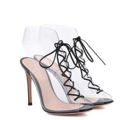 3fde9a8494 Verão novo estilo romano transparente cinta frontal de PVC stiletto  calcanhar peixe boca de salto alto sandálias elegantes