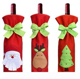 gift paper bottle bags NZ - B Wine Bottle Cover with Bowknot Tie Bags for Bottles Christmas Decoration Kids Gift Merry Christmas Bar Tools Beer Santa Claus Printed