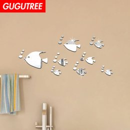 $enCountryForm.capitalKeyWord Australia - Decorate Home 3D fish cartoon mirror art wall sticker decoration Decals mural painting Removable Decor Wallpaper G-274