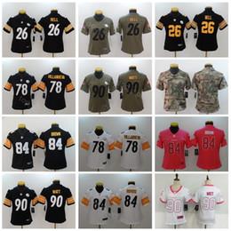 50d1c9467be Pittsburgh Women Jersey Football Steelers Lady 90 T.J TJ Watt 78 Alejandro  Villanueva Black White Woman Color Stitched Good