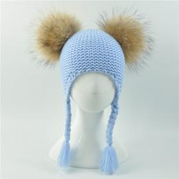 $enCountryForm.capitalKeyWord Australia - Kids Winter Two Real Fur Pompom Hat Children Crochet Hat for Girls Natural Fur Pompon Cap Skullies Beanies Baby Boys Knit