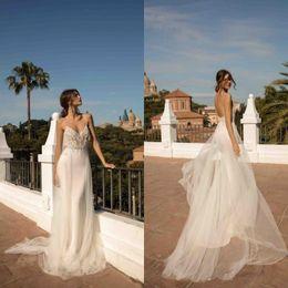 Berta Black Summer Dresses Australia - 2019 Berta Bohemian Wedding Dresses Spaghetti Backless Summer Beach Bridal Gowns Boho Wedding Dress vestido de noiva