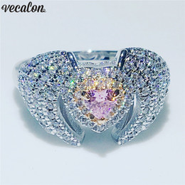 $enCountryForm.capitalKeyWord NZ - wholesale Elegant Angel wings Ring 925 Sterling Silver 5A Zircon Stone Party Wedding Band rings for women Finger Jewelry