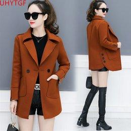 def8e7599 Novo casaco blusão outono inverno casaco de lã coréia tops plus size moda  trincheira para as mulheres de manga longa senhoras casacos 819