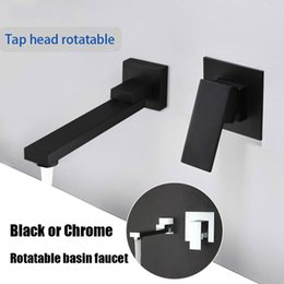 $enCountryForm.capitalKeyWord NZ - Matte Black Color Qaulity Widespread Bathroom Basin Faucet Wall Mounted Rotatable Water Mixer Tap Chrome Sink Tapware