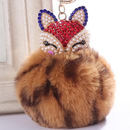 $enCountryForm.capitalKeyWord Australia - Leopard Print Pompom Car Keychain Fake Fox Fur Keychain Ball Rhinestone Fur Key Chain Cool Gifts