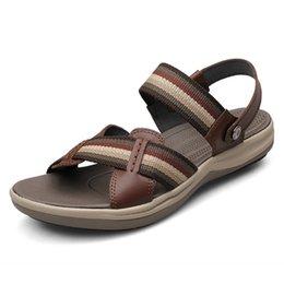 $enCountryForm.capitalKeyWord Australia - Genuine Leather Men Sandals Fashion Men Shoes Summer Native Shoes Breathable Beach Sandals Outdoor Slippers Male Footwear 38-47