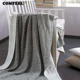 $enCountryForm.capitalKeyWord Australia - COMFEEL 100% Cotton Geometric Lattice Throw Blankets Sherpa Soft Crocheted Home Textile Comfortable Hand Knitting Warm Blanket