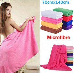 Wholesale 70x140cm Microfiber Travel Towel Absorbent Fiber Beach Drying Washcloth Shower Bath Shower Microfiber Travel Towel Hot