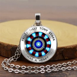 $enCountryForm.capitalKeyWord Australia - New Marvel Iron Man Tony Stark Arc Reactor Necklace Glass Cabochon Pendant The Avengers 4 Endgame Quantum Realm Film Souvenir