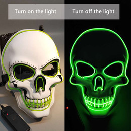 $enCountryForm.capitalKeyWord Australia - Skull Glowing Mask Costume LED Party Mask for Horror Theme Cosplay EL Wire Halloween Masks Halloween Party Supplies Hot Sale
