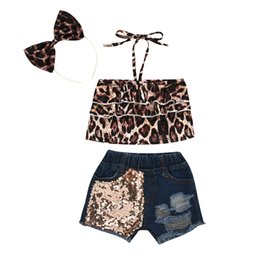 short hair styles girl NZ - Baby Girl Leopard Clothing Sets kids Sling Vest Top + Sequined Denim Short + Bow Hair Sticks 3pcs sets Summer Fashion Children Outfits M1874