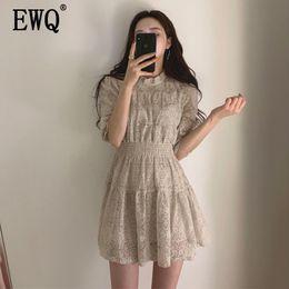 Fashion Trends Lace Dress Australia - EWQ 2019 spring Korean style elegant lace short-sleeved round neck stitching party dress fashion trend women summer dress QF733