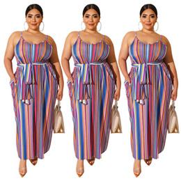 Pocket Size Australia - Women Plus Size Dresses 0XL-3XL Striped Spaghetti Strap Maxi Dress Sashes Pocket Long Dressses Trendy Summer Clothing 490