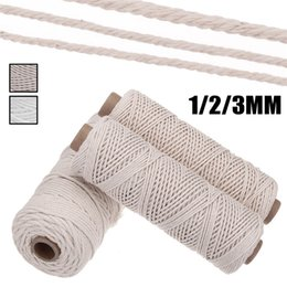 braided cotton rope wholesale NZ - 1 2 3mm Diameter Cotton Twisted Cord Rope Craft Macrame Cord Artcraft String DIY Handmade Braided Colored Cotton Rope 100M