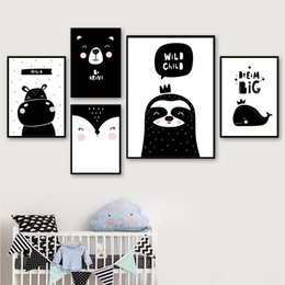 $enCountryForm.capitalKeyWord NZ - Black White Cute Hippo Whale Bear Dream Quote Wall Art Canvas Painting Nordic Posters And Prints Wall Pictures Kids Room Decor