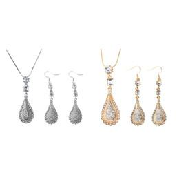 $enCountryForm.capitalKeyWord UK - Crystal Rhinestone Bridal Jewelry Sets Silver Color Waterdrop Necklace Earrings Wedding Jewelry Sets Accessories