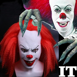 costumes de jokers achat en gros de-news_sitemap_homeRed Hair Effrayant Latex Stephen Kings Il clown Pennywise Parti Masque Robe drôle cosplay costume Joker Clown Masques Props