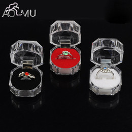 Wholesale Boxes Packaging Australia - Aomu 1pc Elegant 3.8*3.8cm Portable Acrylic Transparent Rings Earring Display Box Wedding Jewelry Package Box Wholesale C19021601