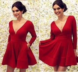 $enCountryForm.capitalKeyWord UK - Red Long Sleeve Party Dresses Prom 2019 Sexy V-neck A-line Short Prom Dress Homecoming Dress Graduation 8th Grade For Sweet 16 Girls