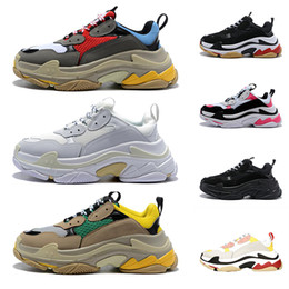 eva soles UK - Triple S Designer Casual Shoes Paris 17FW Low Old Dad Sneaker Combination Soles Boots Mens Womens Fashion High Top Quality Size 36-45
